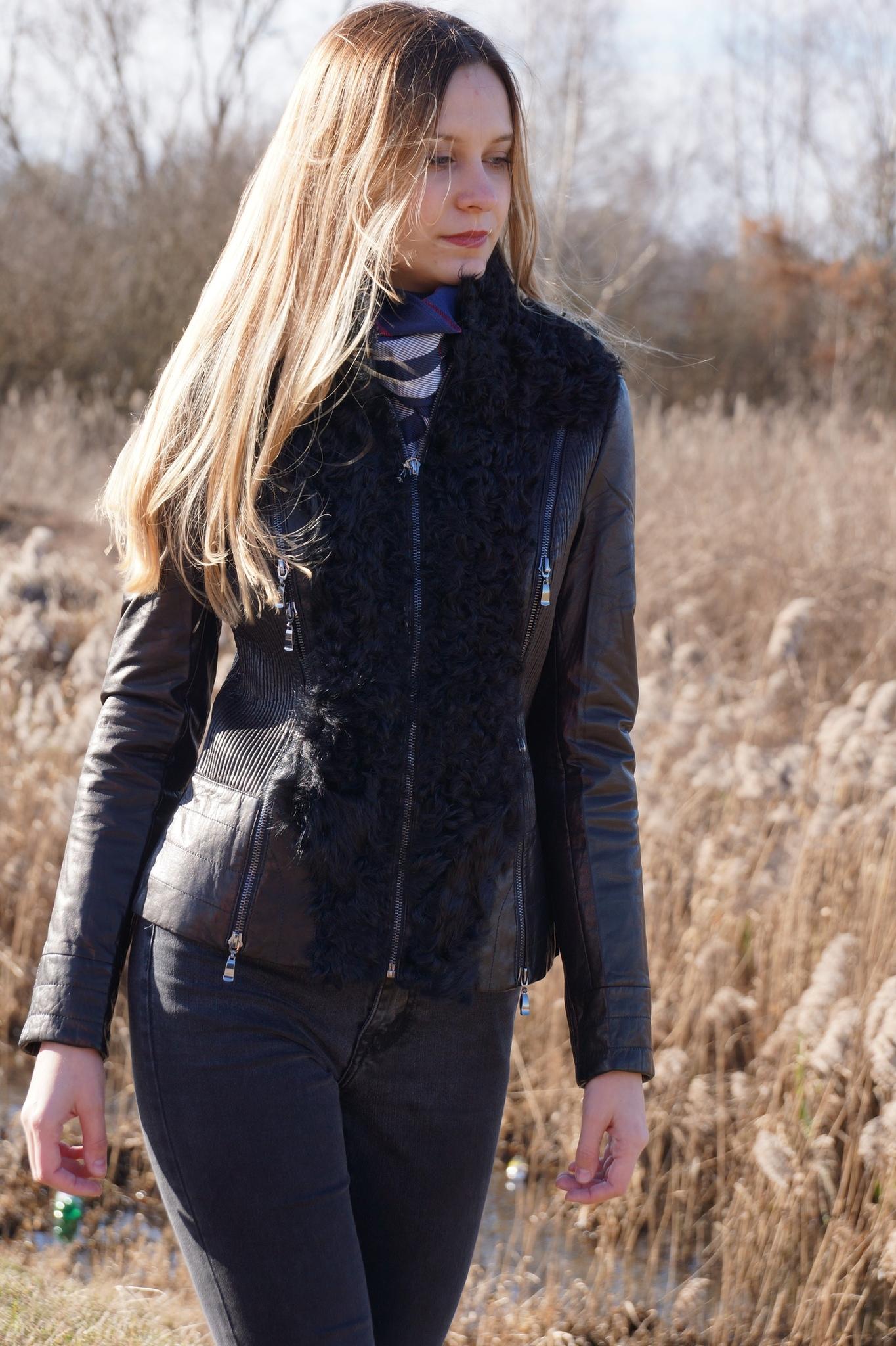 Кожаная куртка с отделкой Vivi