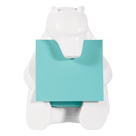 Диспенсер для Z-блоков Post-it Медведь + стикеры 76x76 мм голубые 90 листов