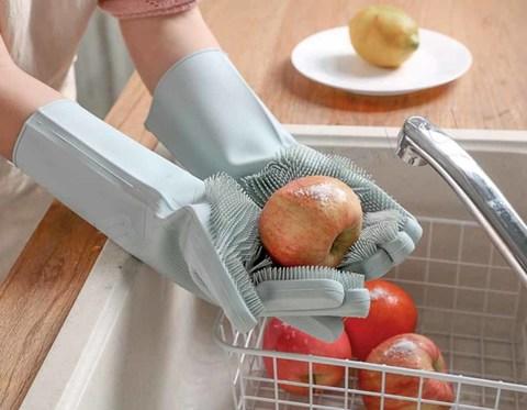 Термостойкие универсальные силиконовые перчатки с ворсинками для кухни зелёные