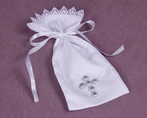 Мешочек для волос Крестик белый (серебрянный)
