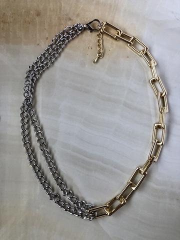 Колье Дездем, позолота и серебряный цвет