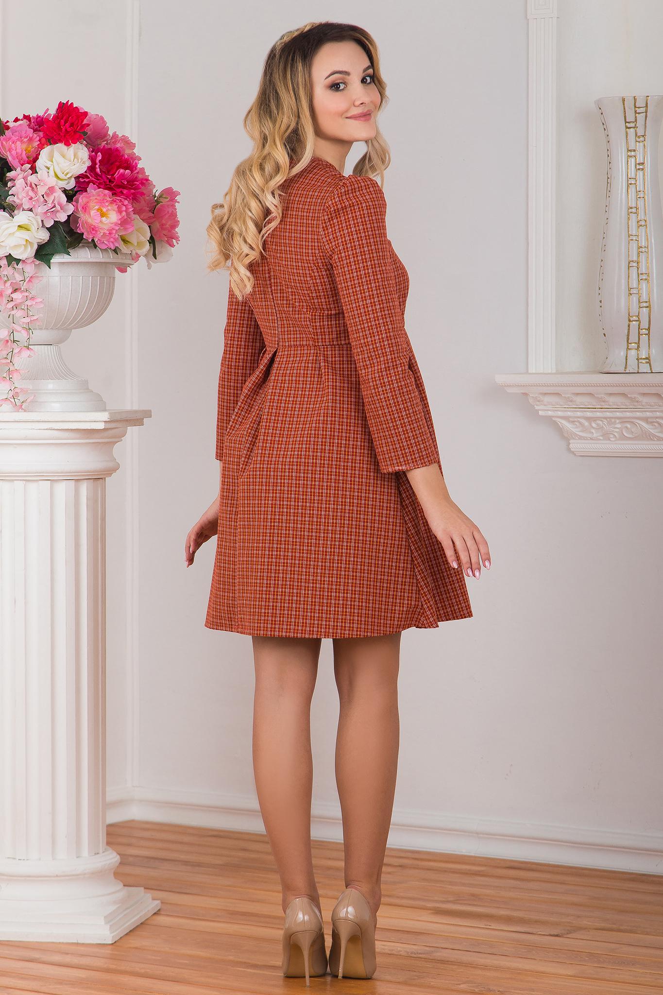 Платье клетчатое Рыжая осень вид сзади