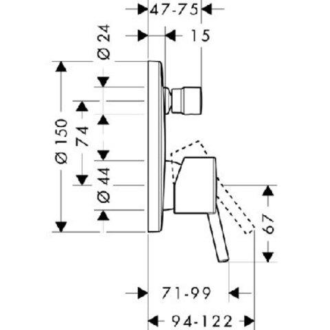 Смеситель Hansgrohe Talis S 32475000 для ванны  схема