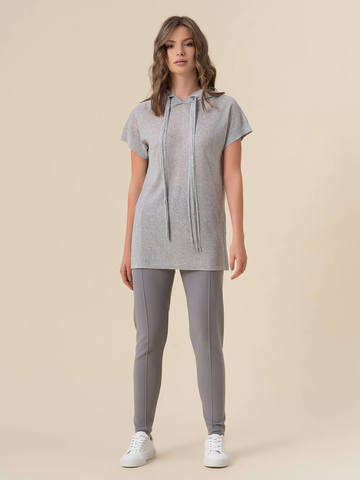 Женские брюки светло-серого цвета с рельефными полосками из вискозы - фото 2