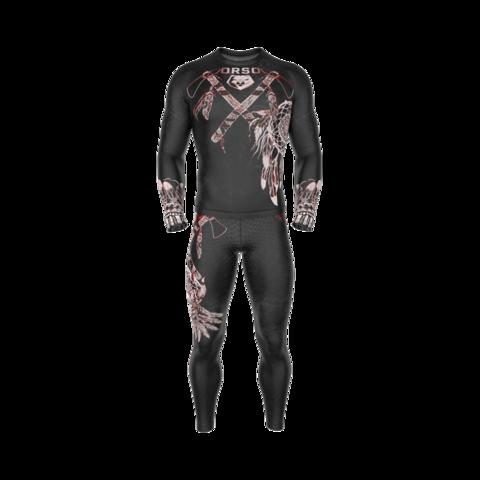 купить мужские тайтсы леггинсы orso aztek apachi черные для бега фитнеса единоборств занятий спортом