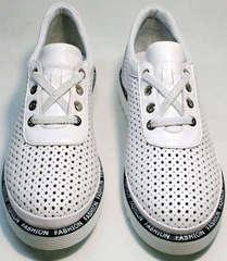 Модные туфли кожаные женские с перфорацией Evromoda 215.314 All White.