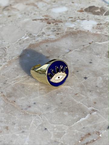 Кольцо-печатка Глаз из позолоченного серебра с синей эмалью