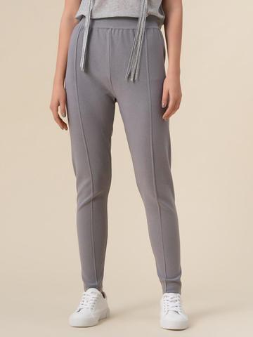 Женские брюки светло-серого цвета с рельефными полосками из вискозы - фото 4