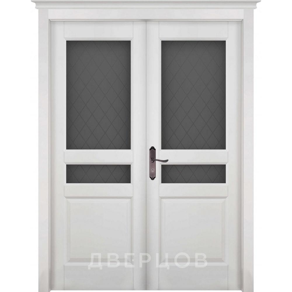 Двустворчатые двери Межкомнатная распашная двустворчатая дверь массив ольхи ОКА Валенсия белая эмаль остекленная venecia-po-belaya-dr.jpg