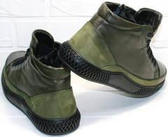 Низкие зимние ботинки мужские кожа термо Luciano Bellini BC2803 TL Khaki.