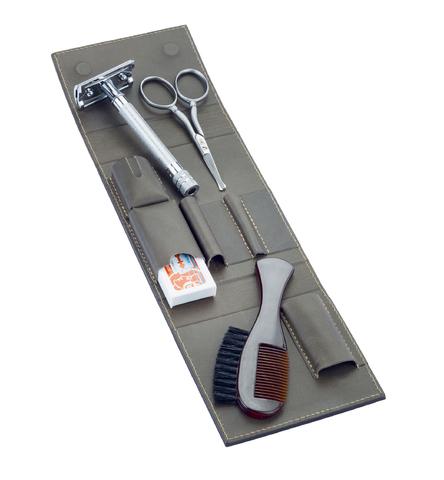 Набор бритвенный Dovo: 4 предмета, цвет коричневый, кожаный футляр