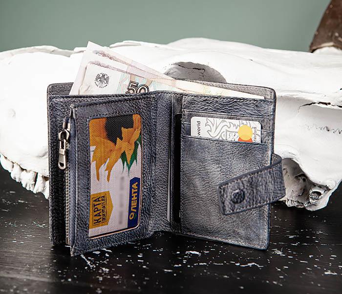 WL330-3 Портмоне из кожи с монетницей на застежке фото 10