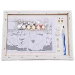 Картина раскраска по номерам 40x50 Миска голубики и ромашек