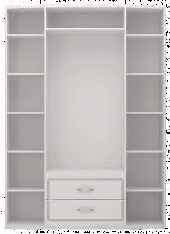 Шкаф для одежды четырехдверный Виктория 2 с ящиками, с зеркалами Ижмебель белый глянец