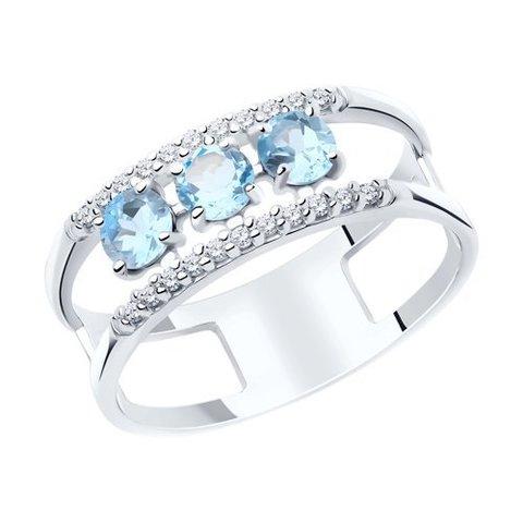 92011918 - Кольцо из серебра с топазами и фианитами