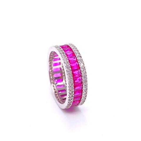 40027 - Кольцо-дорожка из серебра с розовыми цирконами