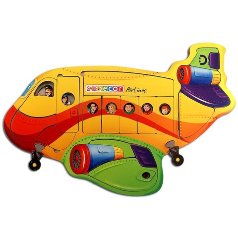 Пазл деревянный Воздушный лайнер, Smile Decor П1017 (44 элемента)