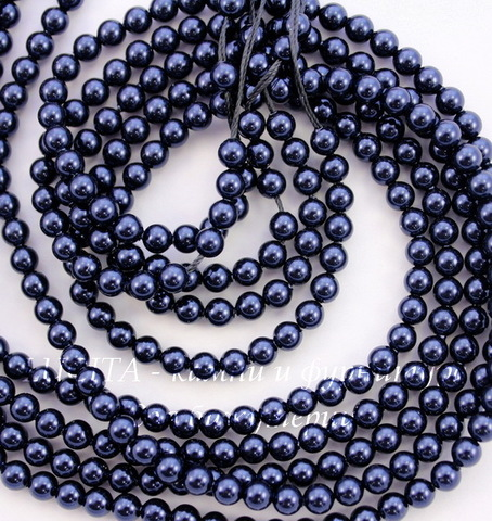 5810 Хрустальный жемчуг Сваровски Crystal Night Blue круглый 4 мм, 10 штук
