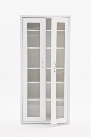 Шкаф медицинский металлический МЕТ ВАЛЕНТИЯ 2С , дверки стекло в метал.рамке - фото