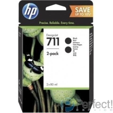 HP P2V31A Картридж HP 711 черный 2-Pack {DJ T120/T520, 80 мл, (CZ133A *2 шт.))