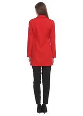 Красный длинный пиджак из костюмной ткани