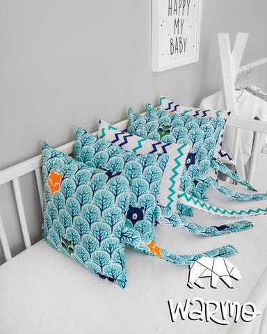 Набір бортиків-подушок в ліжечко 30x30см М'ЯТНИЙ ЛІС