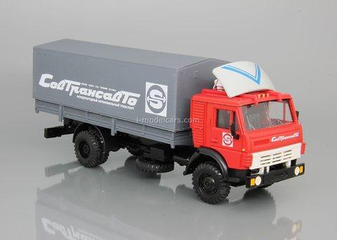 KAMAZ-5325 flatbed truck with tarpaulin Sovtransavto metal spoiler Elecon 1:43
