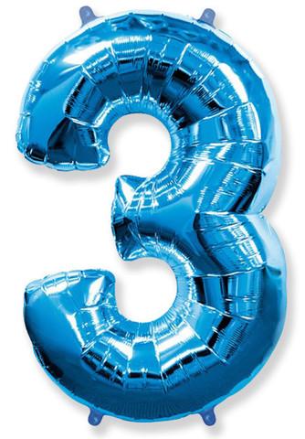 Воздушный шар (40''/102 см) Цифра, 3, Синий, 1 шт.