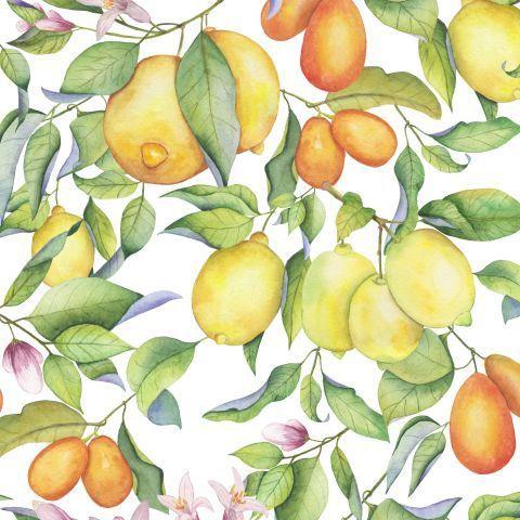 Акварельные лимоны на белом