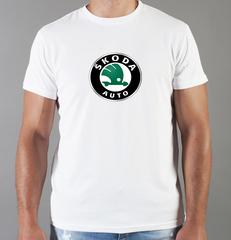Футболка с принтом Шкода (Skoda) белая 002