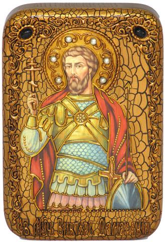 Инкрустированная Икона Святой мученик Виктор Дамасский 15х10см на натуральном дереве, в подарочной коробке