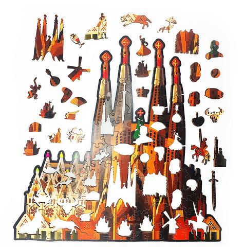 Деревянный пазл  Саграда-Фамилия 30х30 см