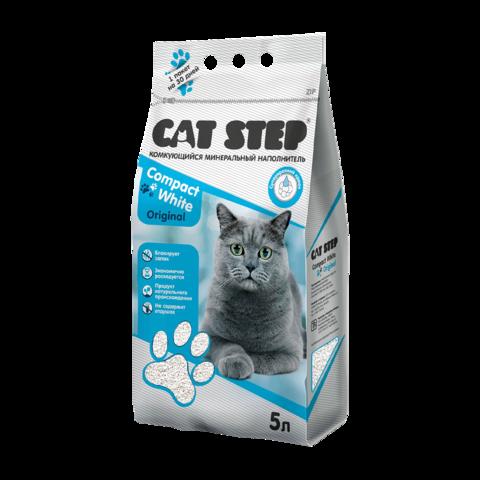 Cat Step Compact White Original Наполнитель для туалета кошек комкующийся минеральный