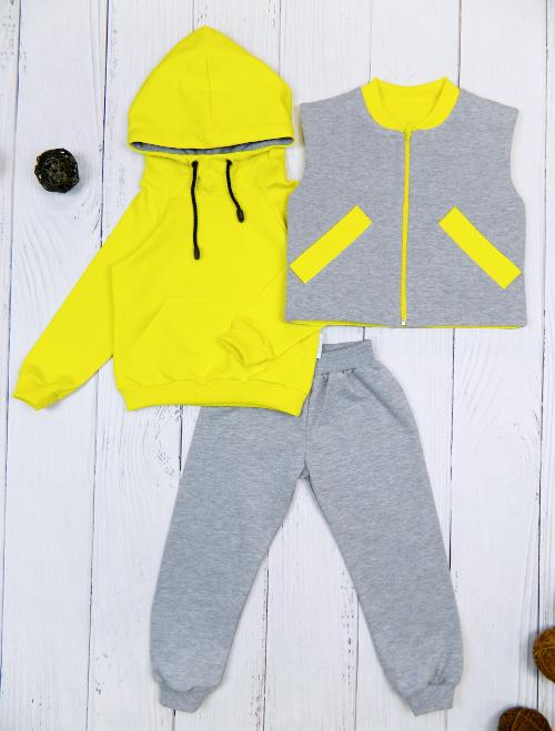 Костюм 3081, желто-серый