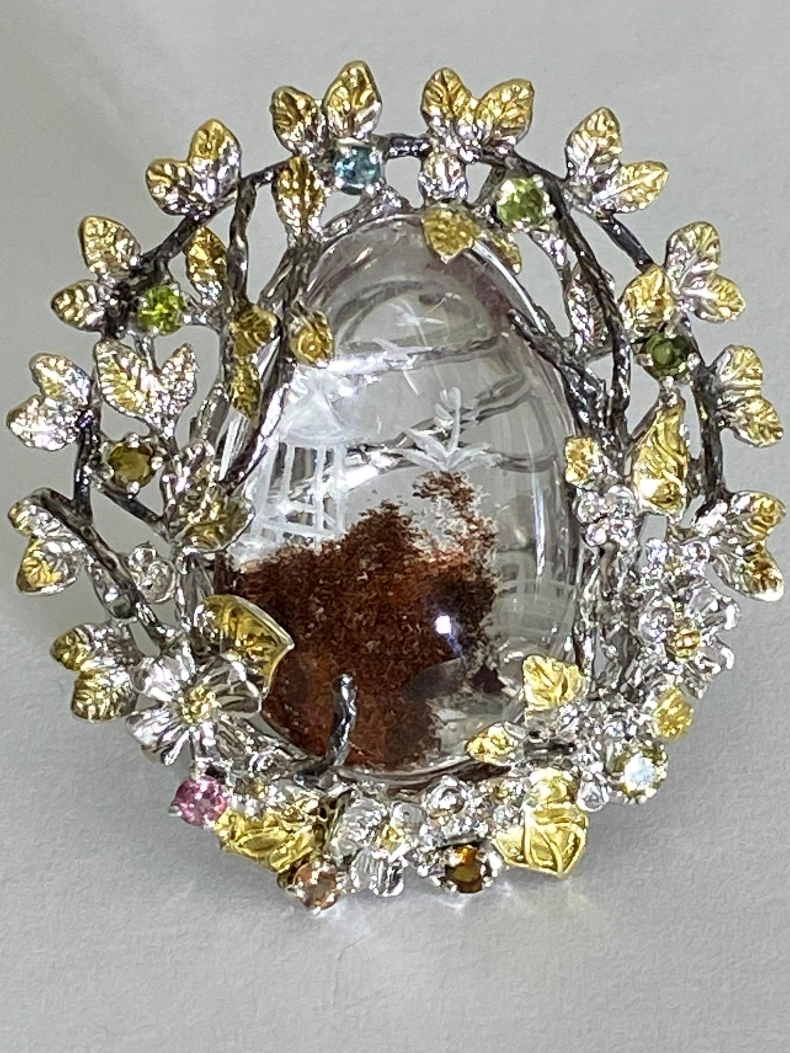 Кварц фантом (кольцо из серебра)