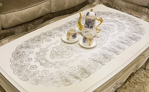 Салфетка декоративная 60 х 100 см овал серебро № 1