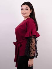 Карина. Женская блуза с рюшами больших размеров. Бордо.