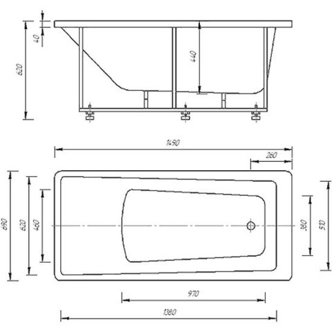 Ванна акриловая Aquatek  Либра 170х70см. на каркасе и сливом-переливом. схема