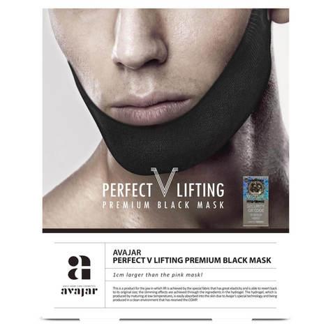 Мужская лифтинговая маска (черная) Perfect V lifting premium black mask, AVAJAR