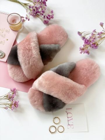 Меховые тапочки розовые с перекрестными шлейками контрастными (розовый + графит) (из наличия)