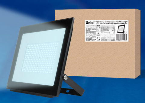 ULF-F20-200W/6500K IP65 195-250В BLACK Прожектор светодиодный. Дневной свет (6500K). Корпус черный. TM Uniel.