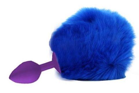 Фиолетовая анальная пробка с пушистым синим хвостиком зайки