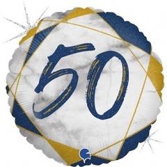 Г Круг 50 Цифра, Мрамор Синий, Голография, 18