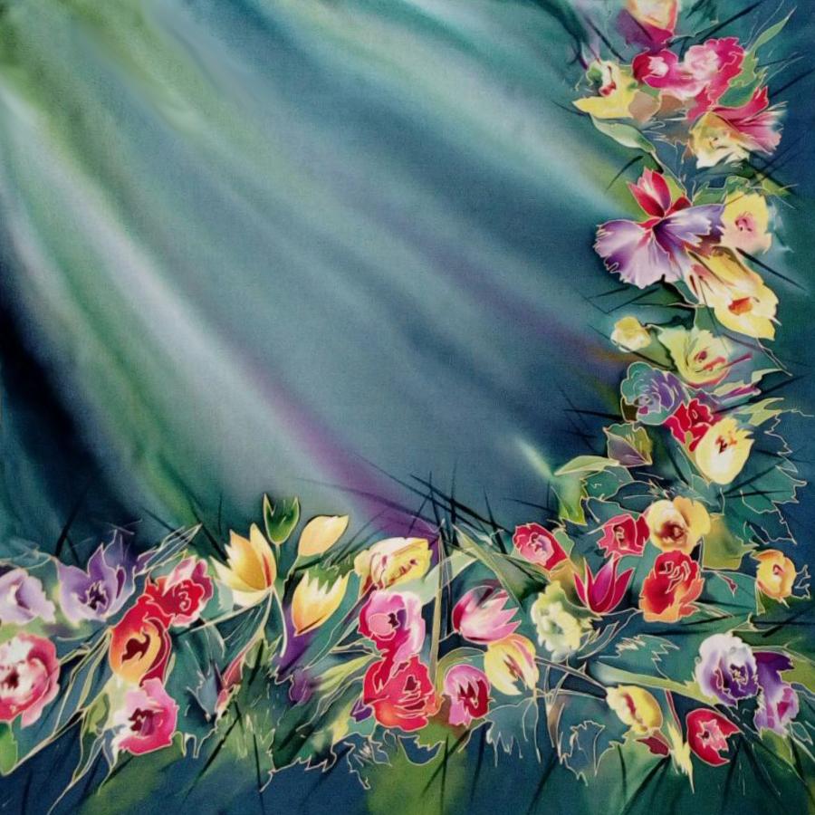 Шёлковый платок Цветы в бирюзе С-60