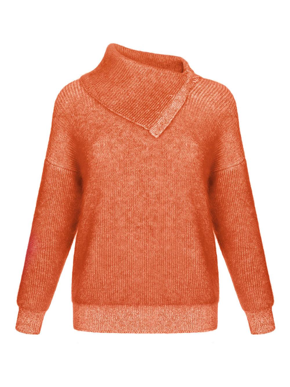 Женский свитер терракотового цвета из мохера и кашемира - фото 1