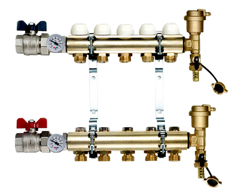 Коллектор Tiemme 1х3/4 ЕК-8 (на восемь контуров) для радиаторного отопления