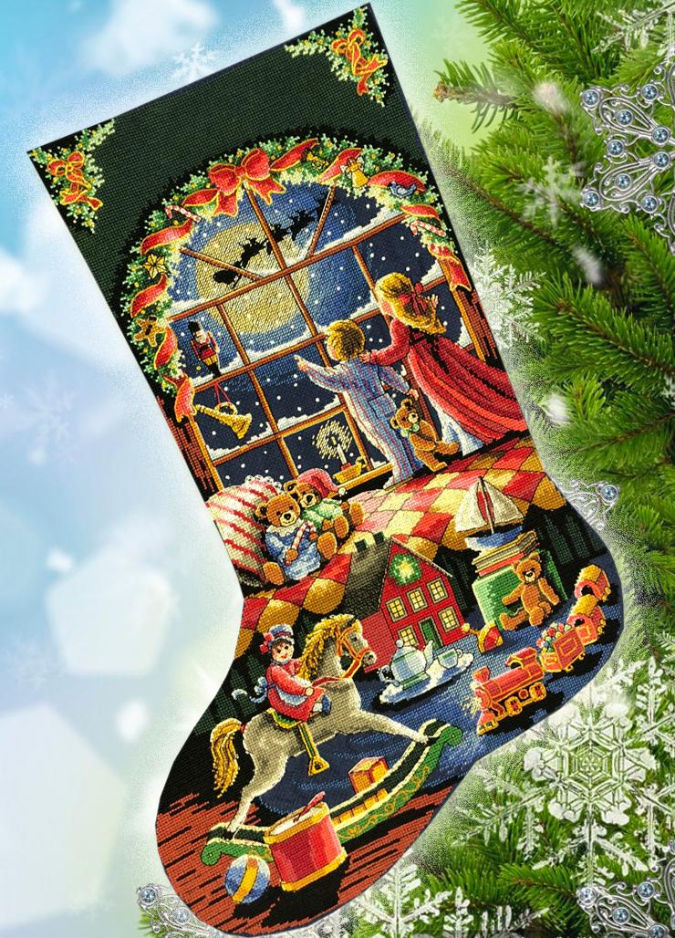 Набор для вышивания В ожидании Деда Мороза. Сапожок. Арт. 4008