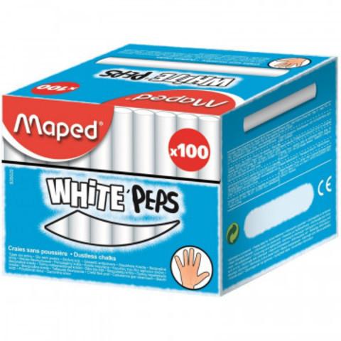 Мел WHITE?PEPS Maped белый, круглый, 100 шт