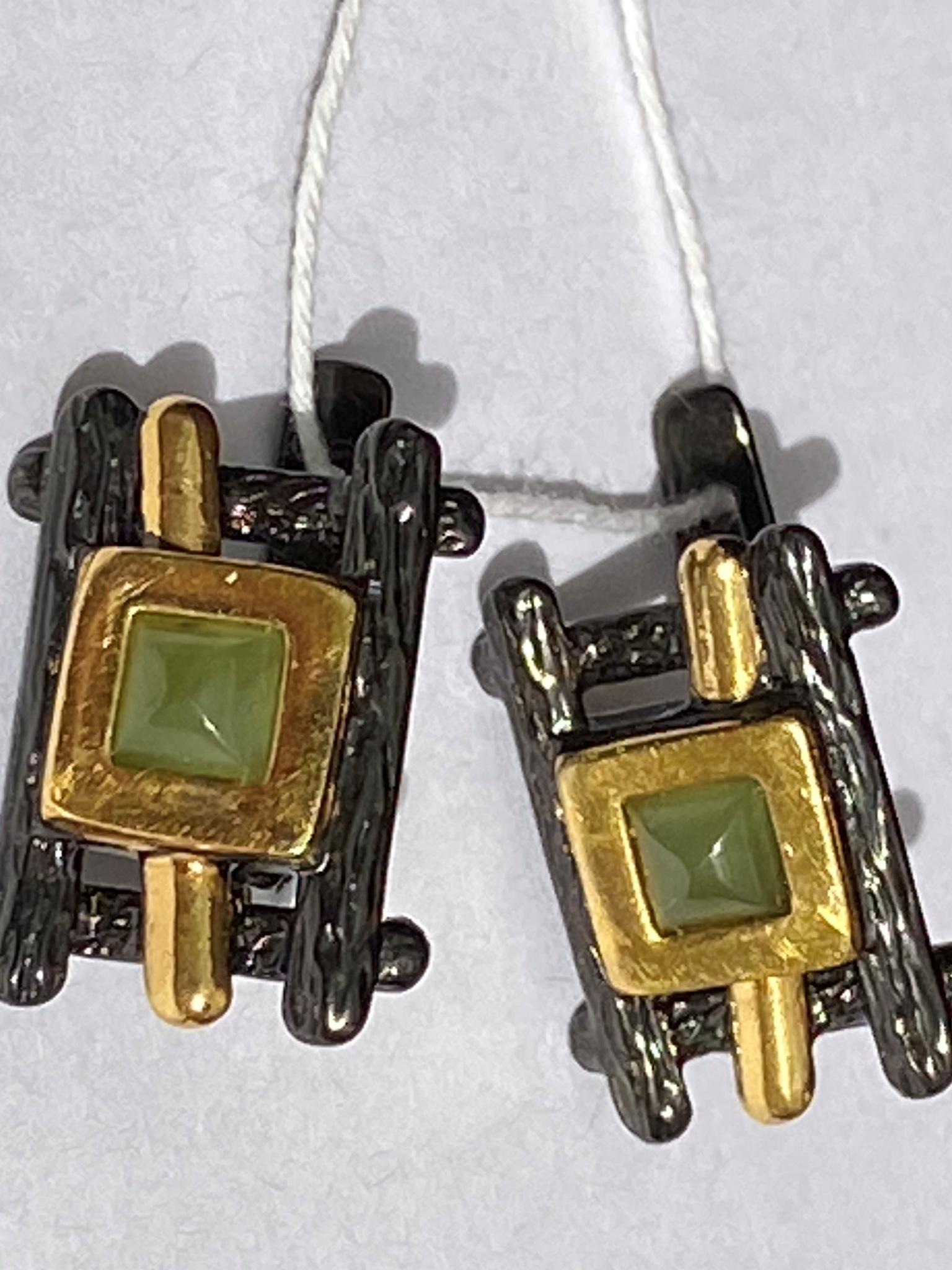 Лусона-нефрит( серьги из серебра)