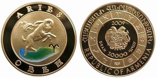 Знаки зодиака - Овен! Золотая монета 2009 года выпуска Армения 10000 драм , AU-900, 8,6 гр. диам. 22 мм, тир. 10000, пруф. 100% гарантия подлинности.